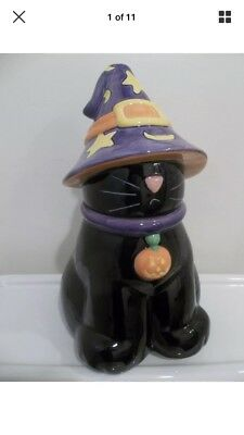 Rare Harry And David Halloween Black Cat Witches Hat Ceramic Holiday Cookie Jar