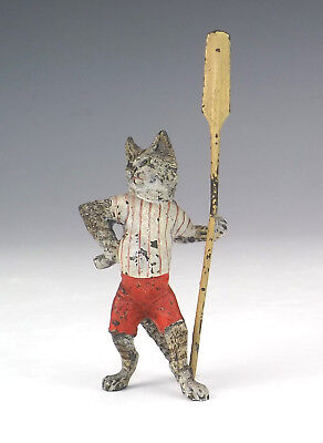 Antique Vienna Cold Painted Bronze - Comical Rowing Cat Figure - Unusual!