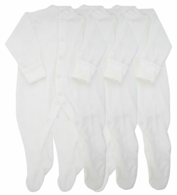 Ex Store 3 Pack Cotton Towelling Sleepsuits New Baby White