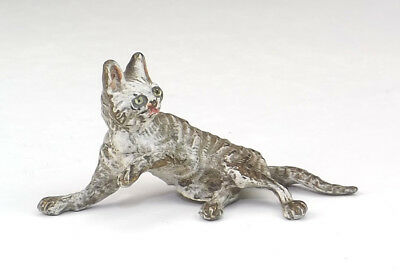 Antique Vienna Cold Painted Bronze - Cat Laying Down Figure - Unusual!