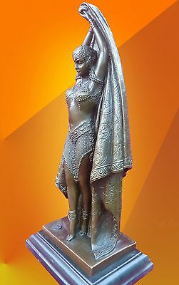 Art Deco Bronze Statue Chiparus Antinea Signed Figure Hot Cast Lady Figurine