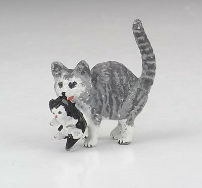 Antique Vienna Cold Painted White Metal - Cat & Kitten Figure - Nice!