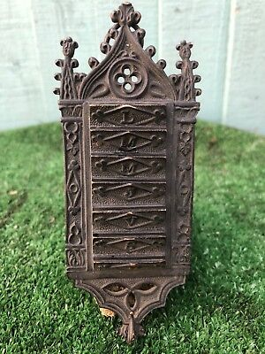SUPERB EARLY 19thC GOTHIC BRONZE WALL PLAQUE WITH SEVEN DAY SLOTS c1820s