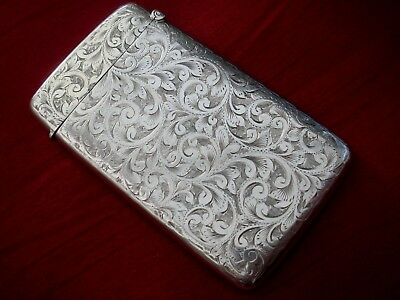 A Fine Solid Sterling Silver English Hallmarked Chester Date 1902 Card Case