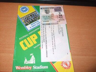 1983 FA CUP FINAL PROGRAMME & TICKET BRIGHTON v MANCHESTER UNITED