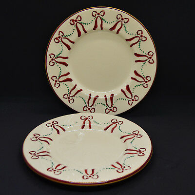 "Nicholas Mosse Pottery Swag and Bow Two 7.5"" Plates Christmas Holiday Ireland"