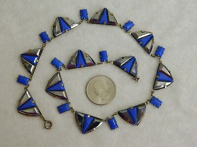 Vintage Czech Art Deco Machine Age Cobalt Blue Glass Chrome Enamel Necklace