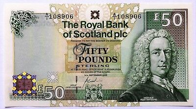 Scotland-50 Pounds-2005- Prefix A/1 -Royal Bank Of Scotland Plc-Pick 367 , Unc .