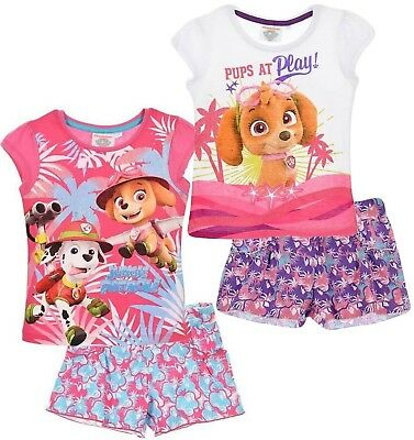 Paw Patrol Nickelodeon Girls Summer Outfit Shorts Short Top T Shirt Clothes Set