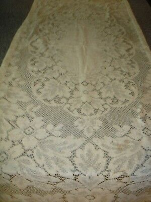 Antique Vtg Crochet Lace Floral Curtain Panel or Runner Mandel-Cohn Estate
