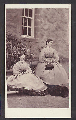 CDV3105 Victorian Carte de Visite: 2 Ladies & Dog Outdoors, Jackson, Perth