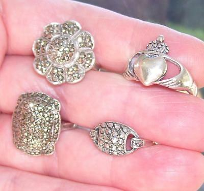 Lot 4 Antique Art Deco Solid Sterling Silver Marcasite Cocktail Rings L & M Size