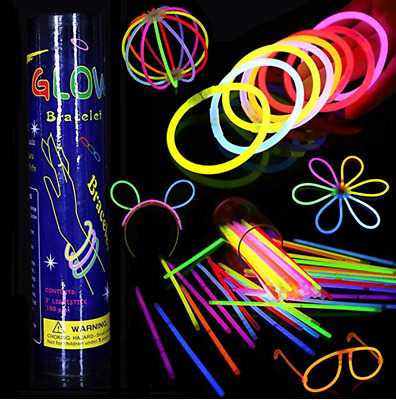 "50 PartySticks Glow Sticks Bulk  8"" Brand Premium Glow In The Dark Light Sticks"