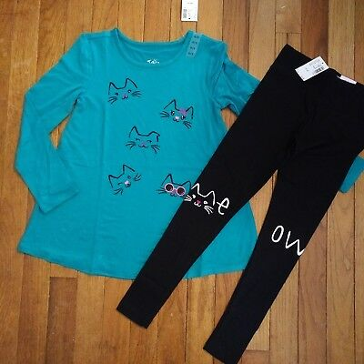 NWT Justice Girls Outfit Cat Faces Top/Meow Leggings Size 6 7 8 10 12 14 16