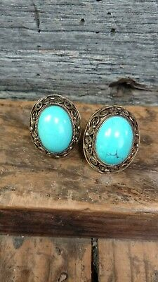 Antique Pair of Chinese Export Sterling Silver Filigree Turquoise Clip Earrings