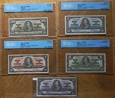 Set of 5 Bank of Canada 1937 Notes $1-$20 Coyne/Towers 4 are Certified
