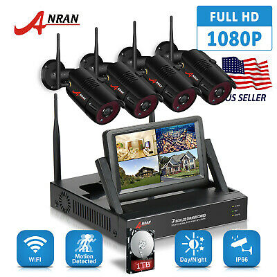 """ANRAN Home Security Camera System 1080P HD 8CH 1TB HDD 12""""LCD Outdoor WIFI NVR"""