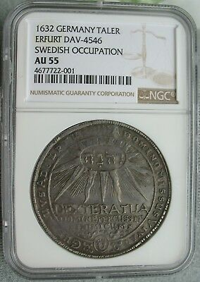 1632 German Swedish Occupation 1 Thaler NGC AU-55