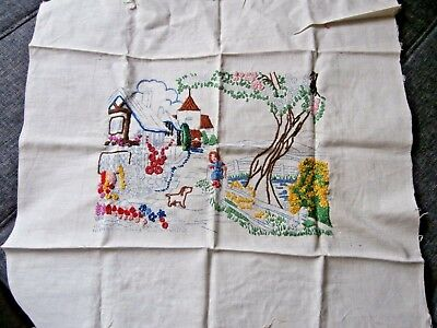"VINTAGE PARTLY WORKED HAND EMBROIDERY LINEN PANEL PICTURE  ~ 11"" x 9"" ~ GARDEN"