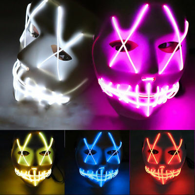 Halloween Party Scary Maske Cosplay Kostüm LED EL Wire Light Up Purge Fancy Neu