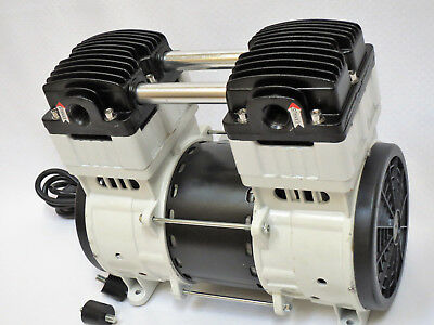 OIL-LESS VACUUM PUMP:Twin Piston 1HP 10CFM Push/Pull Compressor Medical Sci Lab