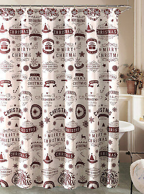 Christmas Holiday Vintage Stamp Shower Curtain And 12 Hooks Bath Set