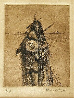 Larry Fodor, New Mexico California, Indianer Indian, Etching handsigned 1980 USA