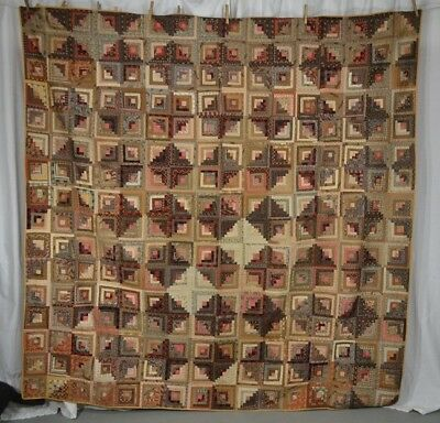 quilt patchwork log cabin early brown pink Civil War Era mid 19th c 1800 vg