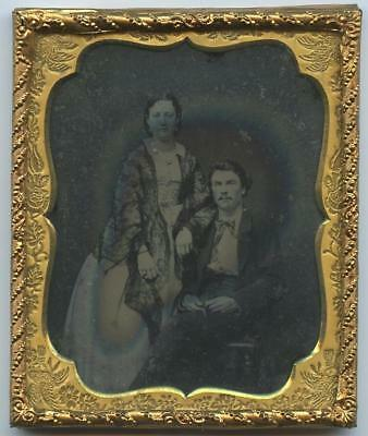1860 CASED 6th PLATE RUBY GLASS AMBRO IMAGE - LOVING COUPLE, ARM ON HUBBY