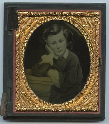 """1850-60 LARGE 6th PLATE RUBY GLASS AMBRO OF FAMOUS PAINTING - """"CHILD THINKER"""""""