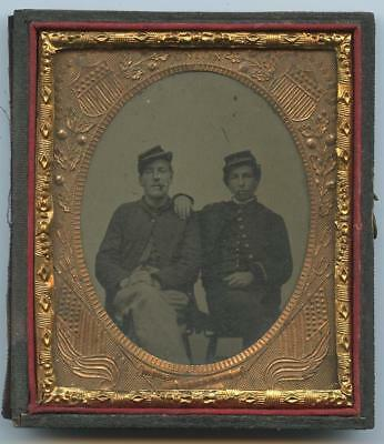 1860's 1/2 CASE 6th PLATE TINTYPE - TWO SEATED CIGAR SMOKING CIVIL WAR SOLDIERS