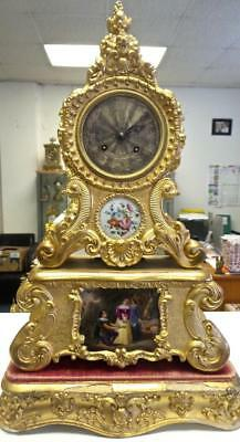 Rare Antique French Empire Early 1800s Gilt Gesso & Porcelain 8 Day Mantle Clock