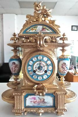 Antique French 19th c Gilt & Sevres Porcelain 8 day Bell Striking Mantle Clock