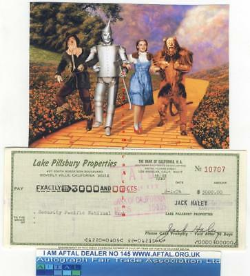 Jack Haley vintage signed Bank Cheque / Check Tin Man Wizard of Oz AFTAL#145