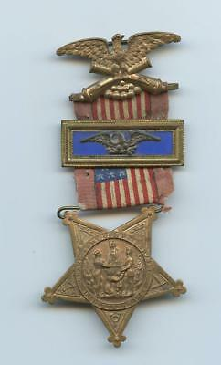 1800s CIVIL WAR VETERAN'S COLONEL STAR MEDAL - SILK FLAG, EAGLE HANGER, NUMBERED