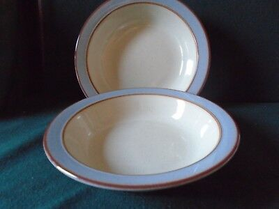Two Denby 'Heritage Fountain' wide rimmed cereal / soup bowls.