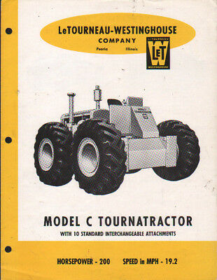 "LeTOURNEAU-WESTINGHOUSE ""Model C TOURNATRACTOR' Brochure Leaflet"