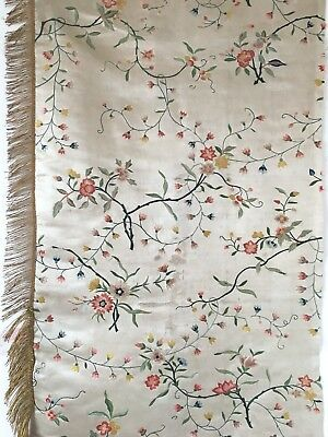 Beautiful Late 18th Century French Silk/ Satin Hand Embroidery Fabric (2457 )