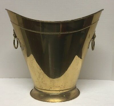Vintage Brass Coal Scuttle / England / Fireplace Tools