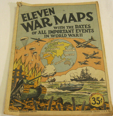 Estate: 1945 WWII War Maps Picture Magazine w/ Dates of all Important Events