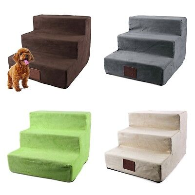 Pet Dog Steps Stairs 3 Ladder Portable Ramp small Soft Indoor Cover Animal Bed