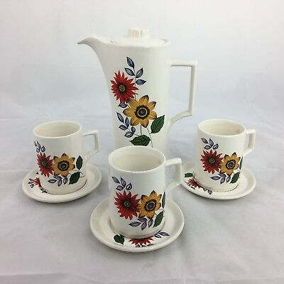 Withernsea Eastgate Pottery Floral Coffee Pot 70s Deco Coffee Tea Set Vintage AB