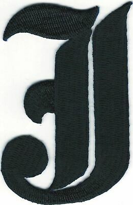 1 1 8 Fancy Black Old English Alphabet Letter E Embroidered Patch