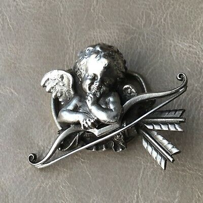 Grand Clip Ancien Ange en Métal Argenté Broche Silver Plated Angel Brooch