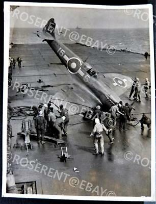 WW2 Supermarine Seafire - nose over crash - HMS Illustrious photo 12.5 by 9.5cm