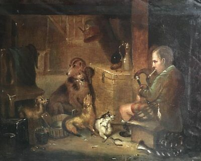 Fine Victorian Landseer Oil - The Game Keepers Cottage - Bagpipes & Hunting Dogs