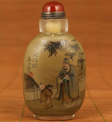 antique 20th Rare Korea Old Glass Hand Painting poet Statue Snuff Bottle Deco