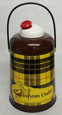 Vintage Poloron PELICAN Camping Cooler,Glass Lined Black&Yellow Plaid,Snake Skin
