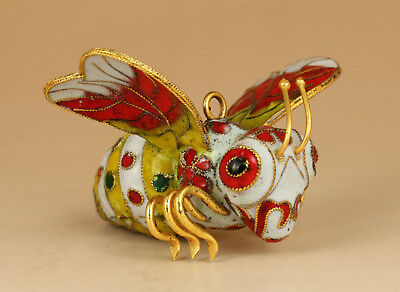 Rare Big Enamels Cloisonne Chinese Old Hand Carved queen bee Statue figure