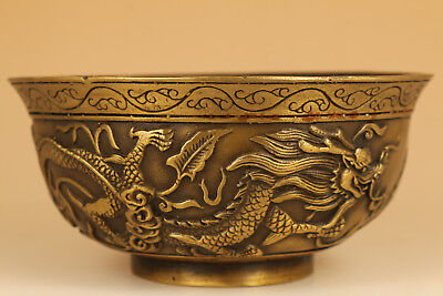 unique Chinese Old Copper Hand Casting Dragon Statue Big Bowl